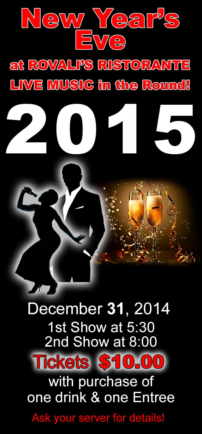 Rovali's 5th Annual New Year's Eve Dinner Show! December 31st Tickets $10 Click on link for more info! 1st Show at 5:30 2nd Show at 8:00 p.m. http://www.rovalis.com/events/event/215Jazz%20and%20Blues%20Show%20at%20Rovalis    #ogden #onlyinogden #foodie #delicious #dessert #historic25 #h25 #italianfood #goodfood #livemusic #pizza #lunch #cocktails #beer #italian #ogdenrestaurant #sweets #girls #ladies #restaurant #christmassale #drinks #wine #microbrew #tasting #newyearseve #dinnershow