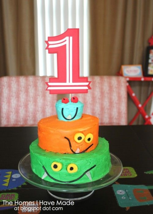 """A Monster of a First Birthday Party by megduesterhaus  Beth, of Project Nursery, says """"There's nothing scary about these adorable monsters. There so many great touches in this colorful party. I love the """"Adopt a Monster"""" favor station and the """"Make a Monster"""" candy bar."""""""