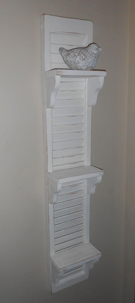 White Shutter Shelf-Vintage Shutter with by AtticJoys1 on Etsy