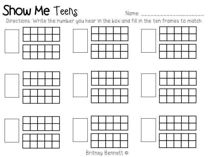 Kindergarten Ten Frame Teen Number Worksheets Math