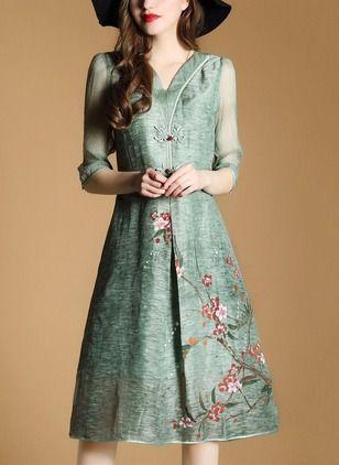Cotton Floral Half Sleeve Knee-Length Vintage Dresses (1051803) @ floryday.com