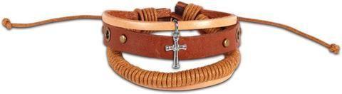 Wrapped Cord Cross Christian Guy's Bracelet