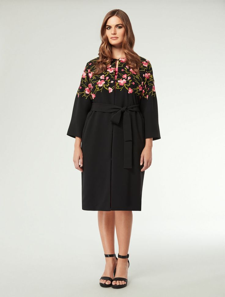 Marina Rinaldi TEBE black: Embroidered evening wrap.