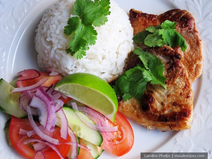 Vietnamese Style Pork Chops With Rice and Cucumber Tomato Salad Recipe - Visual Recipes