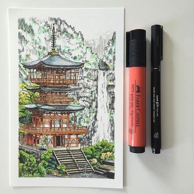 The Pagoda of Seigantoji, Japan. #art #drawing #pen #sketch #illustration…
