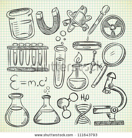 set of science object in doodle style - stock vector