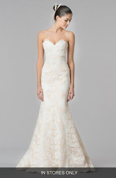 Carolina Herrera Dahlia Strapless Lace Trumpet Gown In Stores Only
