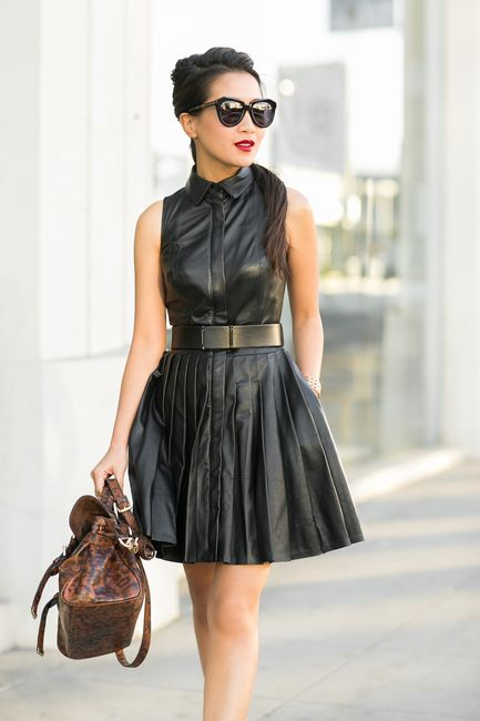 via wendy's lookbook - Dark as Night :: Pleated dress & Leopard details