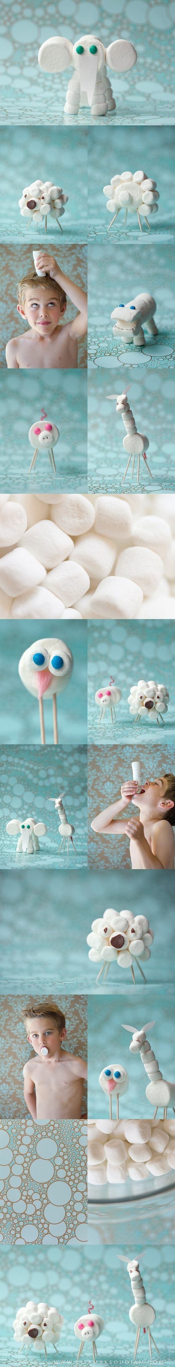 Marshmallows & toothpicks - great way for kids to create! can make animals or can also bring in marshmallow fondont for them to make a little mini edible sculpture