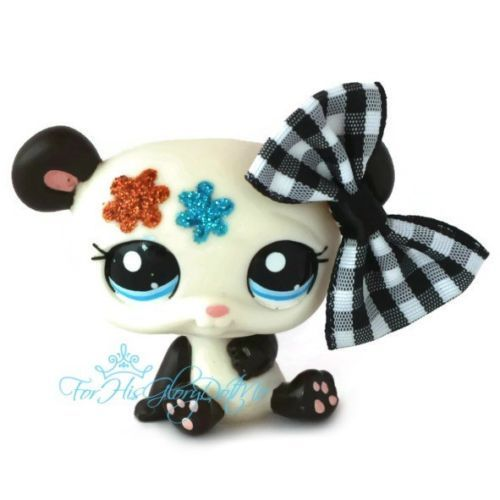 ✵Littlest Pet Shop✵2225✵BLACK WHITE GLITTER SPARKLE PANDA BEAR✵BLUE✵ORANGE✵BOW✵