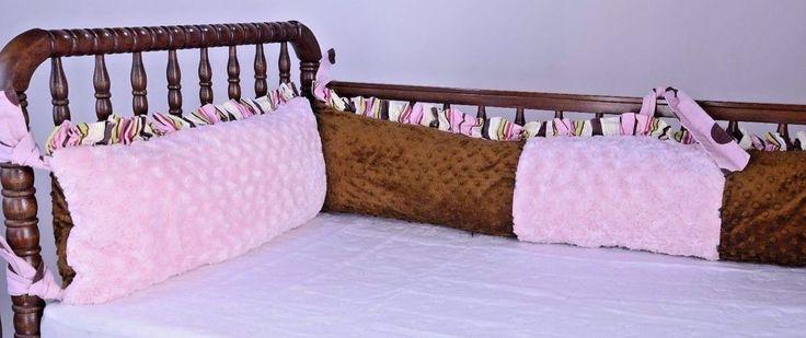 Handmade 4 Piece Minky Baby Bumper Pads Free Tiddliwinks Crib Skirt  Pink  Brown #Tiddliwinks