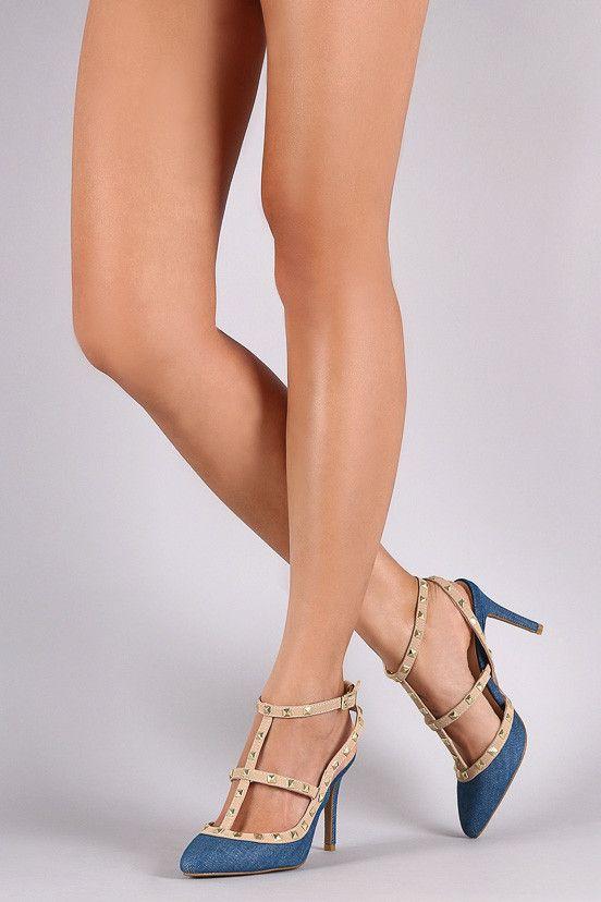CASPER18V BLUE POINTED TOE MULTI STRAP STUD HEEL - Wholesale Fashion Shoes - 2