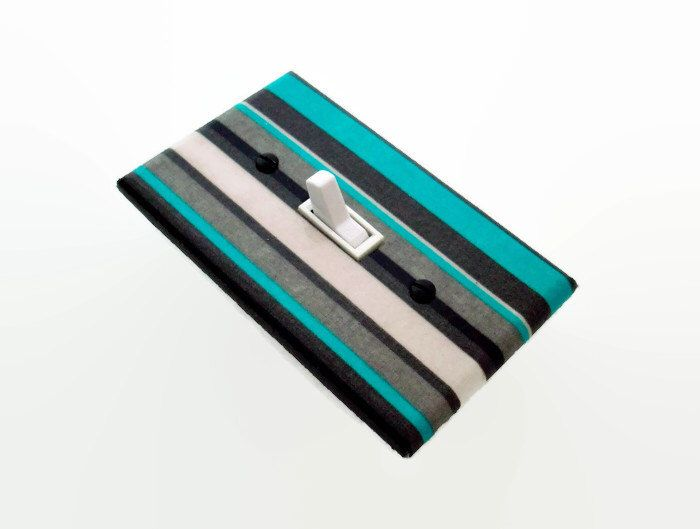 Stripes Light Switch Cover - Grey Turquoise Nursery - Gray Switch Plate - Aqua Grey Switch Plate - Outlet Cover - Teal Grey Bedroom Decor by cathyscraftycovers on Etsy https://www.etsy.com/listing/239655577/stripes-light-switch-cover-grey