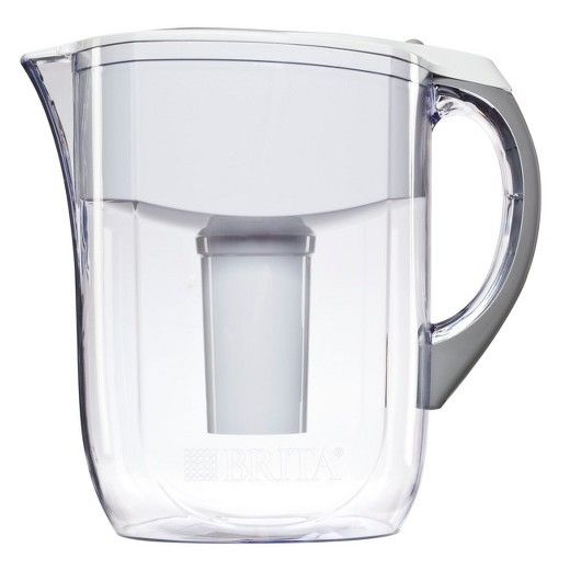 The trusted name in water filtration delivers another healthy hydration solution with the Brita Grand Pitcher. Remove the taste and smell of Chlorine from tap water while reducing waste and improving recipes, beverages, baby formula and more. This Brita pitcher has a generous capacity for 8 10-oz. glasses of water. And smart features like the electronic filter indicator, easy-fill lid and comfort grip handle make the Brita water filter pitcher a joy to use day after day. Choose classic clear…