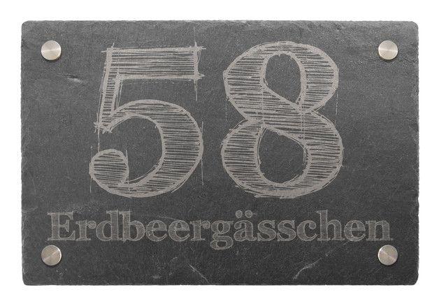 Schiefer Hausnummer - Design 2