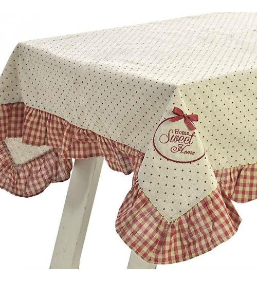 FABRIC TABLE COVER IN RED_WHITE COLOR 120Χ120
