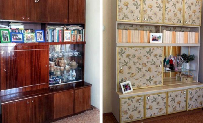 Старый бабушкин сервант превратился в современный и функциональный шкаф благодаря мягкой тканевой оббивке.