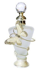 botella de perfume with enamel and crystal Butterfly decoration on silver wire with flowers encircling the white satin glass bottle, has a faceted crystal glass stopper ♥≻★≺♥