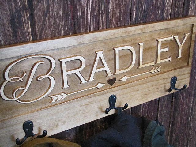 Custom Last Name Family Wood Sign With 3 Hooks Hanger Coat Rack With Cursive Initial Heart Arrow Family Wood Signs Carved Wood Signs Name Signs