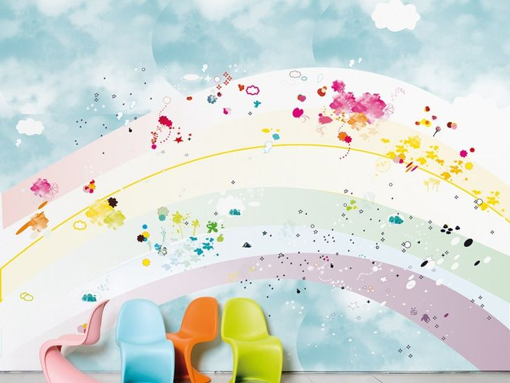 107 best kid 39 s room images on pinterest play rooms room for Rainbow wallpaper for kids room