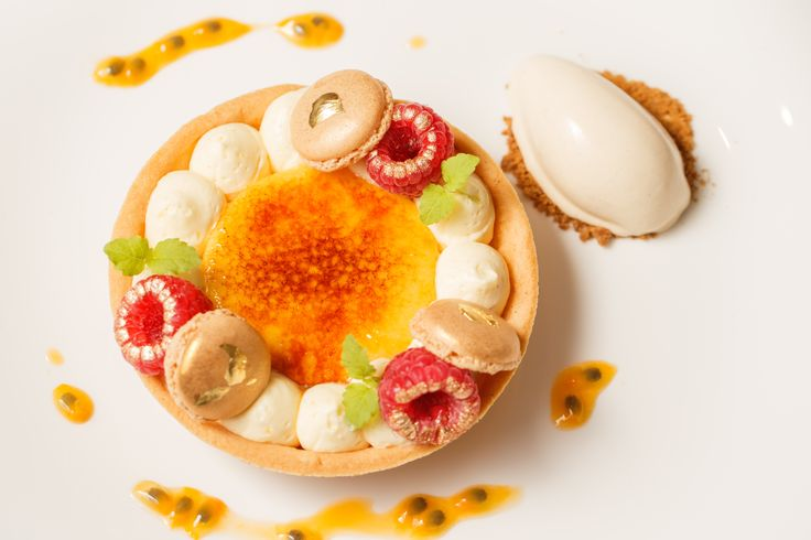 Bacchus South Bank | Dessert | Passionfruit and vanilla set cream, sweet paste crusty, raspberries and gingerbread ice-cream