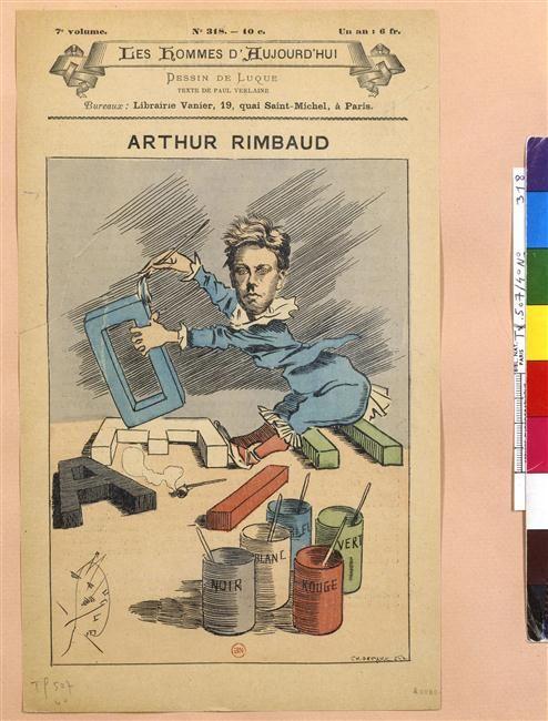 Arthur Rimbaud et les voyelles. et des pots de peinture. Caricature Anonyme
