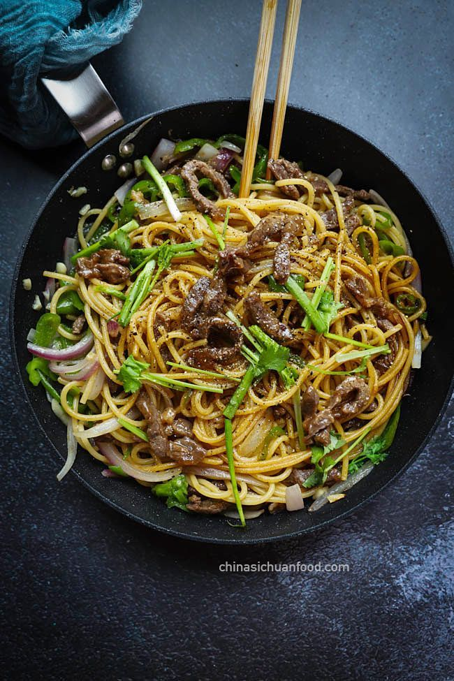 Chinese Black Pepper Beef Noodles Chinasichuanfood Com Beef And Noodles Black Pepper Beef Asian Noodle Recipes