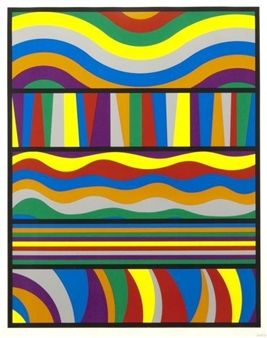 """Untitled"" (Waves and Lines) By Sol LeWitt ,1998"
