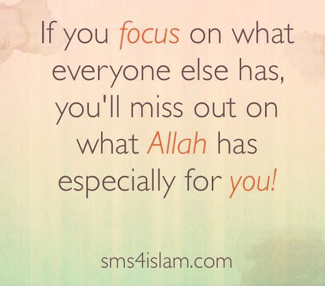 If you focus on what everyone else has, you'll miss out on what Allah has especially for you!  www.sms4islam.com