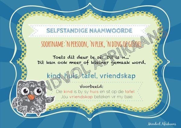 Digitale plakkate oor Selfstandige Naamwoorde, beskikbaar op http://teachingresources.co.za/vendors/mondvol-afrikaans/