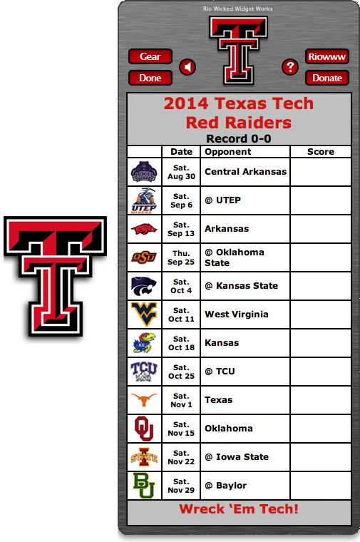 Free 2014 Texas Tech Red Raiders Football Schedule Widget for Mac OS X - Wreck 'Em Tech!  http://riowww.com/teamPages/Texas_Tech_Red_Raiders.htm