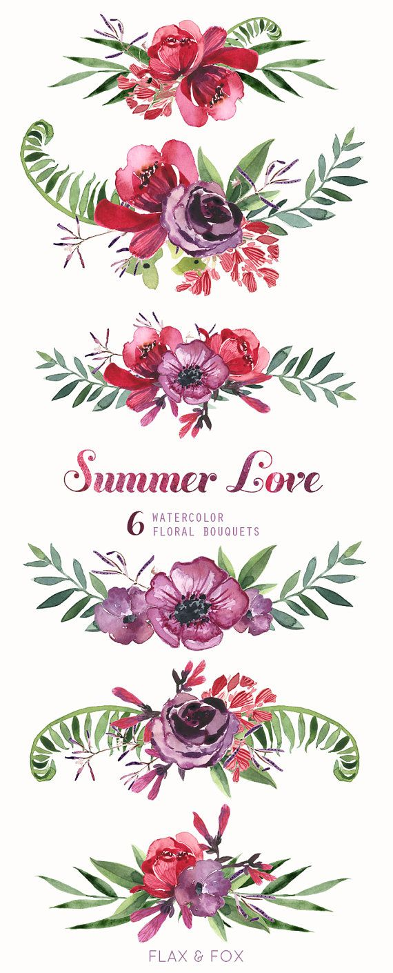 Summer Love 6 Watercolor Bouquets hand painted от flaxandfox