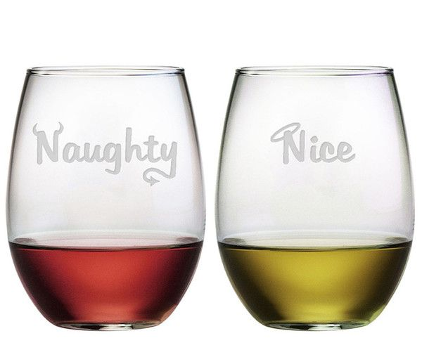 Depending on if you are feeling naughty or nice, you can choose who gets which glass!  Cleverly etched!