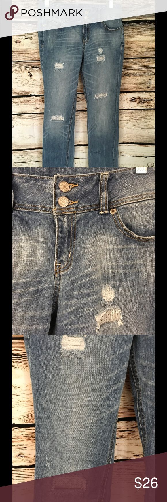 "Victoria Secret Hipster Size 8 Women's Jeans Double Button Close Zip Fly Distressed Look Some distressed areas have mesh and sequins 98% Cotton / 2% Spandex Measurements: Waist - 16"" (doubled 32"") Front Rise - 9.5"" Inseam - 33.5"" Leg Opening - 7.5"" Victoria's Secret Jeans"