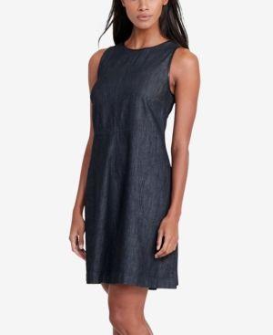 Lauren Ralph Lauren Petite Faux-Leather-Trim Denim Dress - Mineral Blue 4P