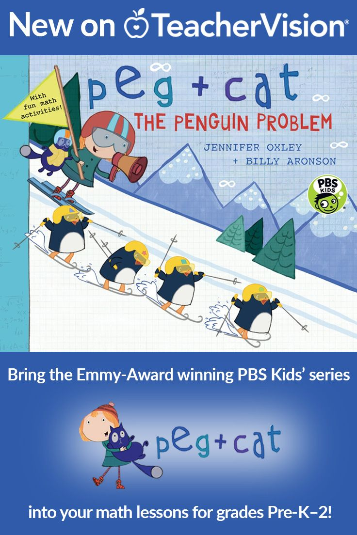 """Peg + Cat help young learners solve math problems in a new series of picture books based on the PBS Kids' Emmy Award-winning animated series! Use the classroom activities in this teacher's guide to integrate """"Peg + Cat: The Penguin Problem"""" into your math lessons and activities. This teaching guide includes activities, discussion questions, printables and classroom extension activities. (Grades Pre-K - 2)"""