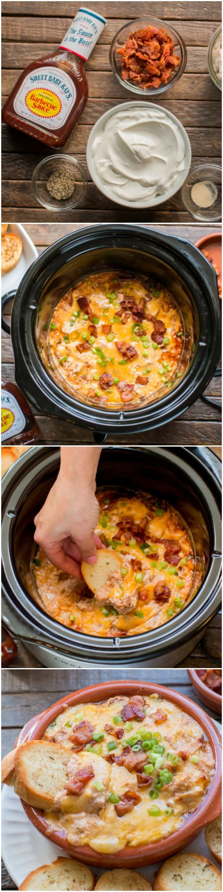 Slow Cooker Bacon Barbecue Chicken Dip served with garlic bread. @sbrbbq #ad