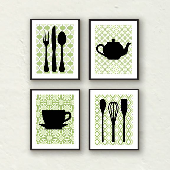 Fork art spoon art kitchen decor kitchen utensil art for Art prints for kitchen wall