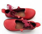 HOLLY, Handmade Leather Woodland Shoes by Fairysteps in Poppy Red