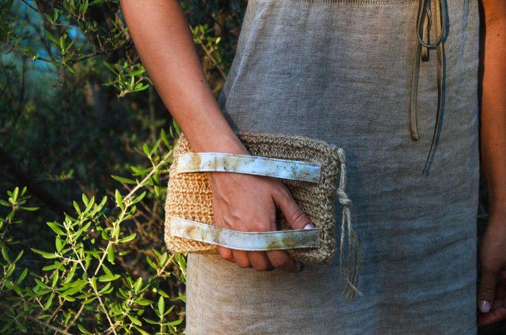 Clutch bag - Eco print on cotton - Eucalyptus and blackberry leaves - Natural jute cord crochet - Zipper - Women bag - Eco - Natural color
