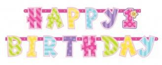 """Güzel 1 Yaş Kız, Banner   partipaketi.com   """"Partiye Dair Herşey"""" 1 yaş doğum günü partisinde bu 2,17m uzunluğundaki büyük boy """"Happy 1st Birthday"""" afişini açık büfe masasının üstüne duvara asabilirsiniz."""