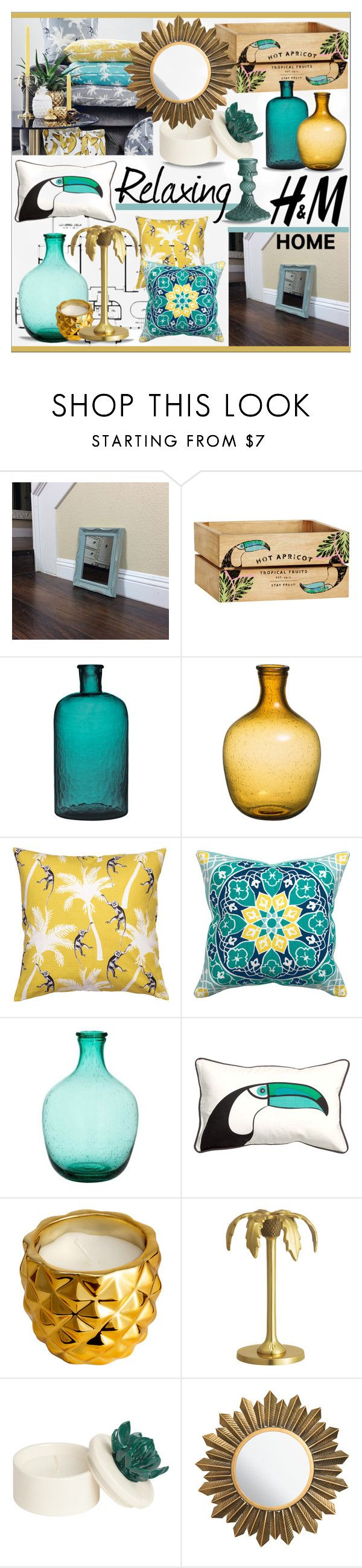 """H & M Home * Turquoise & Yellow Living Room"" by calamity-jane-always ❤ liked on Polyvore featuring interior, interiors, interior design, home, home decor, interior decorating, H&M, living room, homedecor and homeset"
