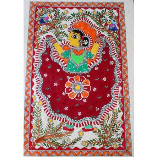 Folkart Madhubani / Mithila painting on handmade paper