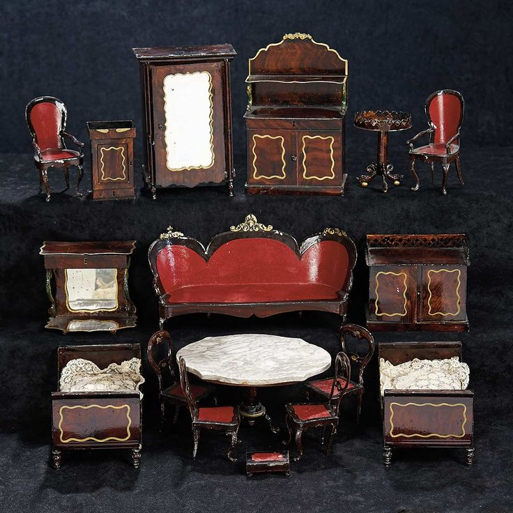 Collection Of German Painted Tin Miniature Furniture By Rock And Graner.  Http://. Miniature FurnitureDoll FurnitureDollhouse ...
