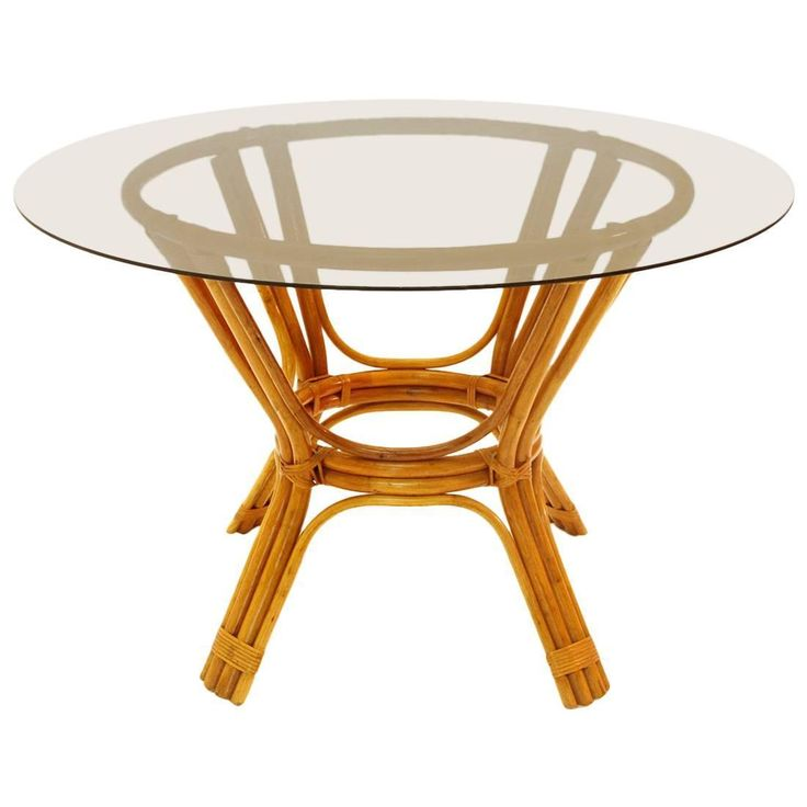 Italian Vintage Bamboo Table with Glass Top, 1970s | 1stdibs.com