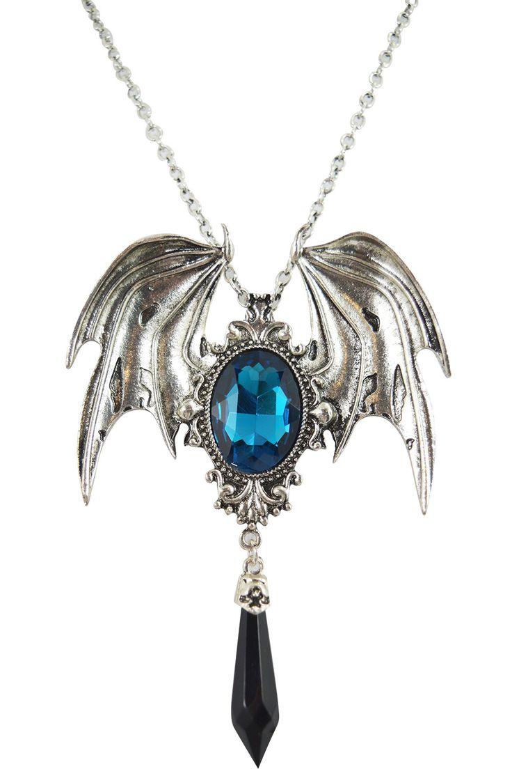 Restyle Dark Beauty Della Morte Gothic Vampire Bat Broach Pendant Necklace
