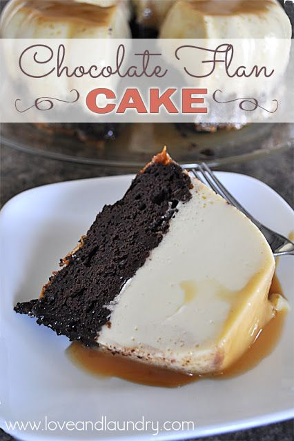 Chocolate Flan Cake - Layers of rich chocolate, creamy flan and caramel! It's pretty magical.