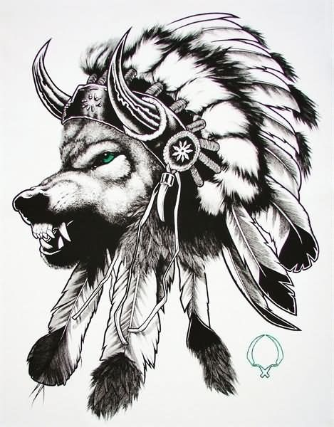 Indian Wolf Head With Feather Headdress Tattoo Design