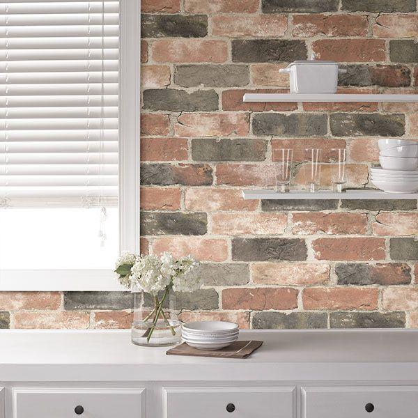 Nuw2064 Newport Reclaimed Brick Peel And Stick Wallpaper By Nuwallpaper Brick Wallpaper Faux Brick Wallpaper Faux Brick Backsplash