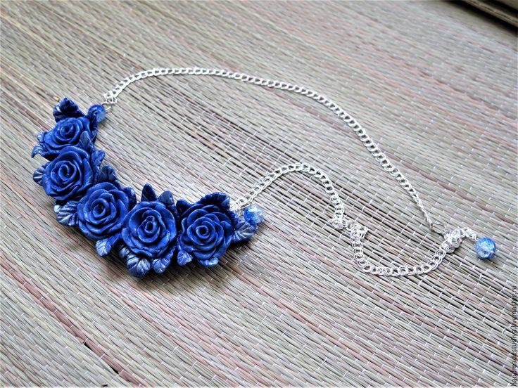Купить Колье Синие розы - синий, колье, колье ручной работы, украшения